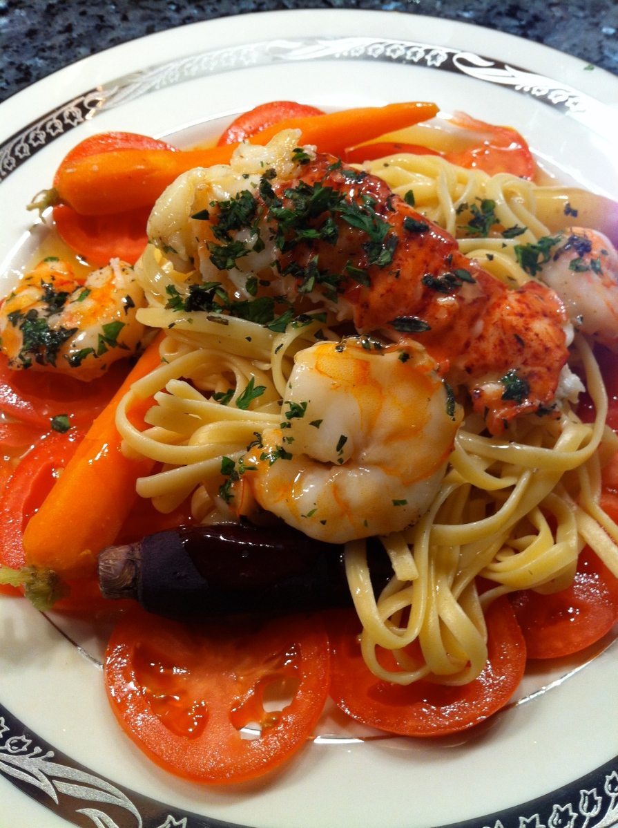Roasted Lobster Tail with Shrimp, Linguini, Colorful Carrots and Lemon ...
